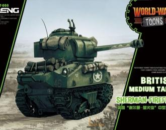 Сборная модель Британский средний танк Sherman-Firefly  (карикатура, сборка без клея, для детей)