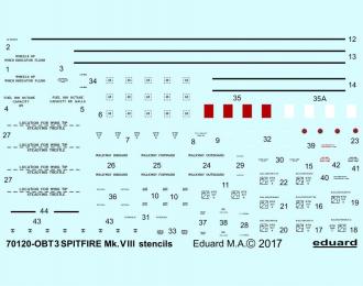 Декали для Spitfire Mk. VIII тех.надписи