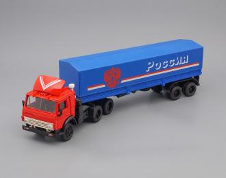 Камский грузовик 5410 (спойлер) с полуприцепом и тентом  Россия, красный / синий