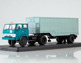 КАЗ-608В с полуприцепом ОДАЗ-794, голубой / зеленый
