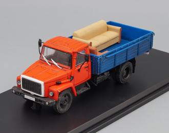 Горький 3309 с грузом и следами эксплуатации, синий / красный