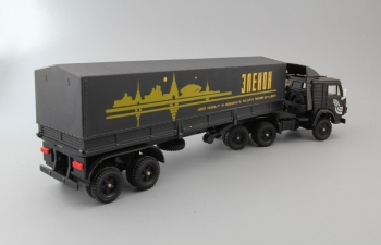 КАМАЗ 5410 с полуприцепом и тентом Elecon, черный
