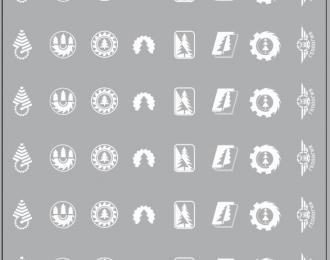 Набор декалей Эмблемы автобаз (лесовозы), белый (100х140)