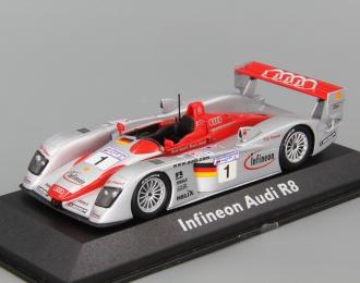 AUDI R8 Infineon 2nd 12hrs Sebring 2002 Pirro - Kristensen - Biela, silver / red