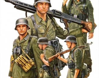 Сборная модель Немецкие пулеметчики на марше (5 фигур)