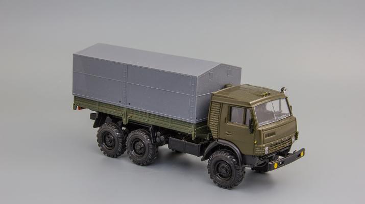 Камский грузовик 43101-010 (высокая крыша) хаки, серый тент