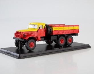 КРАЗ-214 бортовой (Мосгортранс), красный / желтый