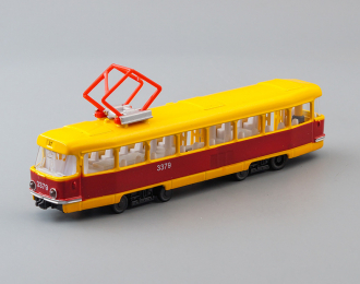 Трамвай Татра T3, красно-желтый  + световые и звуковые эффекты