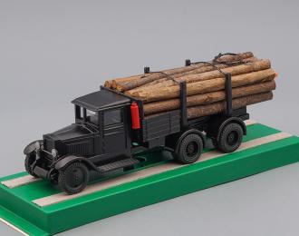 ZIS 5 (6х2) грузовик для перевозки леса с третьей подкатной осью, черный