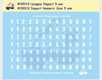 Декаль Цифры, шрифт Impact, высота 5 мм. Для современной российской бронетехники