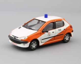 PEUGEOT 206, white / orange