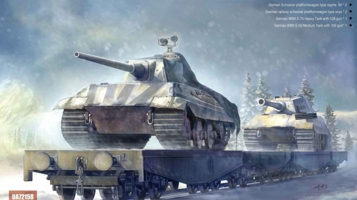 Сборная модель Немецкий железнодорожный состав с танками