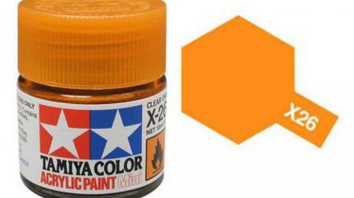 X-26 Clear Orange (краска акриловая, глянцевый прозрачно-оранжевый), 10 мл.