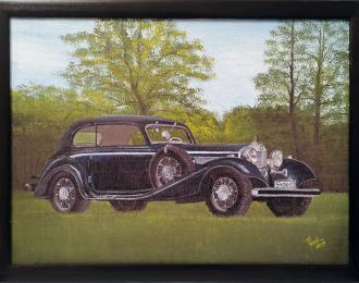 Картина Mercedes-Benz 540K Сoupe - на фоне природы (400*300мм)