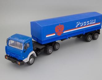 """Камский грузовик 54115 (высокая дневная кабина) с полуприцепом и тентом """"Россия"""", синий"""