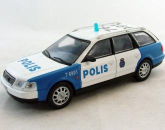 AUDI A6 Аvant Полиция Швеции, Полицейские Машины Мира 38, бело-голубой