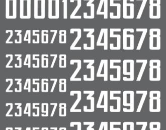 Декаль Цифры для бронетехники. Вариант 1. Высота: 7,20/11,52 мм. СССР, Россия, другие страны.