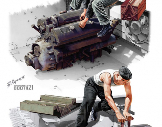 Сборная модель Maybach HL 120 Engine for Panzer III/IV Family w/Repair Crew