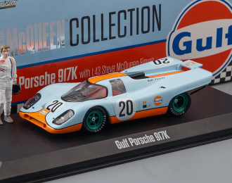 "(Greenlight!) PORSCHE 917K #20 ""Gulf Oil"" с фигуркой Steve McQueen 1970"