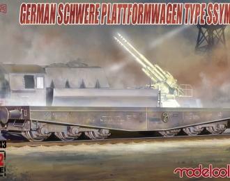 Сборная модель Немецкая тяжелая ж/д платформа с зенитной установкой ssyms 80
