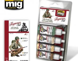 Набор акриловых красок US FORCES UNIFORMS WWII