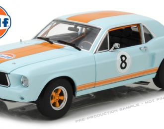 "FORD Mustang Coupe ""Gulf Oil"" 1967 Light Blue with Orange Stripes"