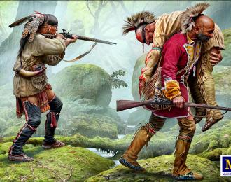 Сборная модель Фигуры, Раненый товарищ. Серия Индейских войн, XVIII век. Набор № 2