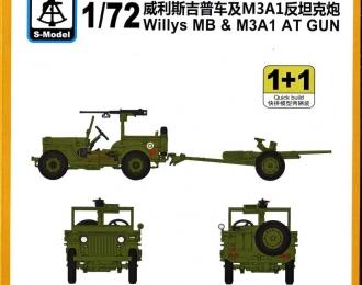 Сборная модель Американский армейский внедорожник Willys MB 4х4 & M3a1 at Gun