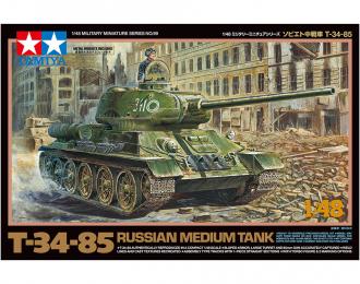 Сборная модель Советский танк T-34-85 с фигурой командира