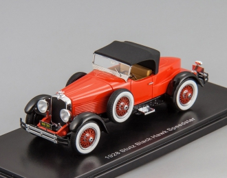 STUTZ Blackhawk Boattail roadster closed roof (1928), red / black