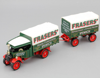 Foden C Type Steam Wagon and Trailer, green / white