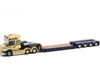 SCANIA T Topline Low Loader (4 axle) Autaa France, Premium Line 1:50, желтый