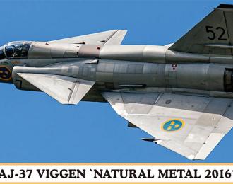 """Сборная модель Самолет  AJ-37 VIGGEN """"NATURAL METAL 2016"""""""