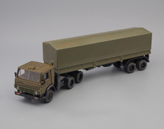 Камский грузовик 5410 тягач с полуприцепом, тент, хаки