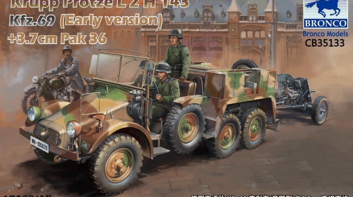 Сборная модель Krupp Protze L2 H 143 Kfz.69 with 3,7 cm Pak 36 (Early version)