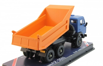 КАМАЗ 5511 самосвал с задним бортом, синий / оранжевый