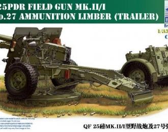 Сборная модель Qf 25pdr Field Gun w/No-27 Ammunition Limber(Trailer)