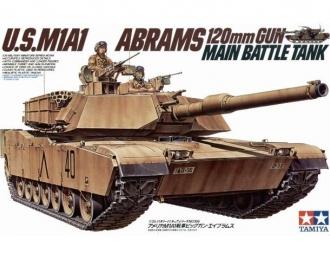 Сборная модель Американский современный танк M1A1 Abrams с 120-мм пушкой и 2 фигурами танкистов
