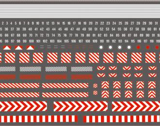 Набор декалей Габариты, номера и полосы для специализированной техники (красно-белые), 210x148