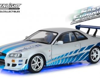 """NISSAN Skyline GT-R (R34) 1999 (из к/ф """"Двойной Форсаж"""")  с голубыми неоновыми светодиодами!"""