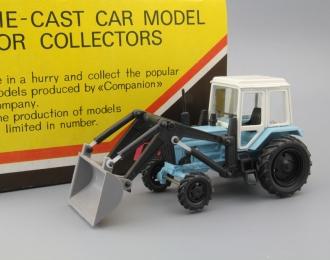 Трактор МТЗ-82 погрузчик (цельнометаллический), голубой / белый