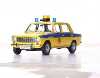 """Волжский автомобиль 2101 """"Жигули"""" ГАИ Милиция 1982 (из к/ф """"Инспектор ГАИ"""") желтый с синим"""