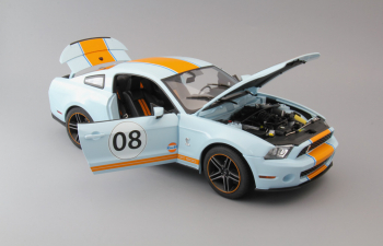 "FORD MUSTANG Shelby GT500 ""Gulf"" 2012 Light Blue with Orange Stripes"