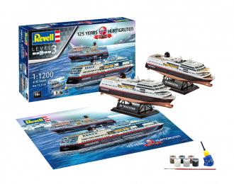"""Сборная модель Круизный лайнер MS Trollfjord и Midnats (Подарочный набор """"125 лет Hurtigruten """")"""