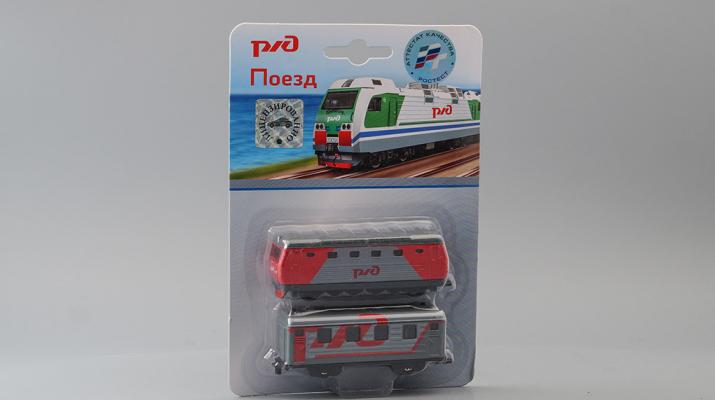Набор моделей Локомотив и Вагон, серый / красный
