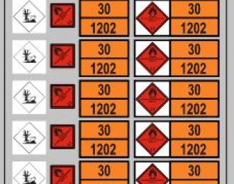 Набор декалей Маркировки опасных грузов (ДИЗЕЛЬ)