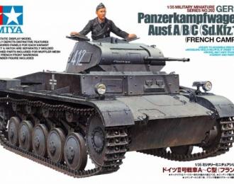 Сборная модель Танк Pz.Kpfw II  Ausf А/B/C с одной фигурой, наборные траки, доп.броневые листы, фототравление, четыре варианта декалей