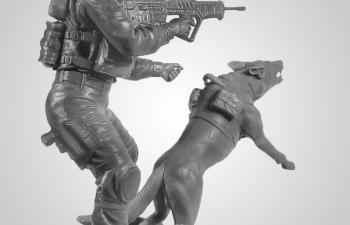 Сборная модель Фигура, Офицер подразделения K-9 IDF с собакой