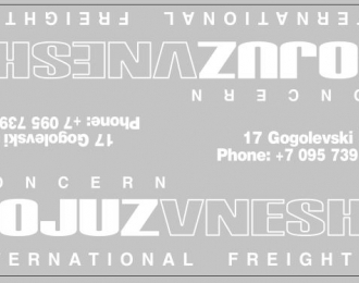 Набор декалей SOJUZVNESHTRANS для МАЗ-9758 (100х290)