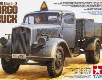 Сборная модель Cargo Truck Немецкий 3-х тонный грузовик (Opel Blitz), 2 фигуры, (4 вар-та декалей), бочки и канистры